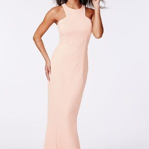 NWT!! Missguided nude high neck maxi dress